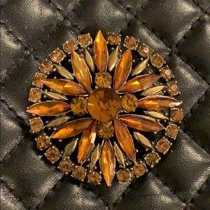 Vintage Amber Crystal Rhinestone Jeweled Brooch